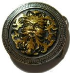 24 ct. Gold Green Man belt Buckle with display stand. Code OF7